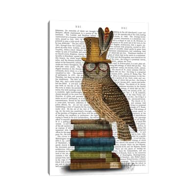"""iCanvas """"Owl On Books"""" by Fab Funky Canvas Print"""