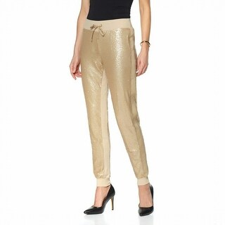 The Wendy Williams Collection NEW Gold Womens Size XL Sequin Knit Pants