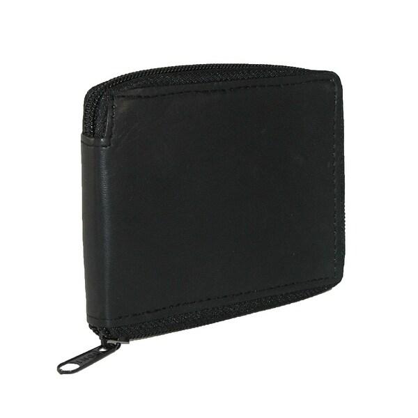 CTM® Men's Lambskin Leather Zip Around Wallet - One size