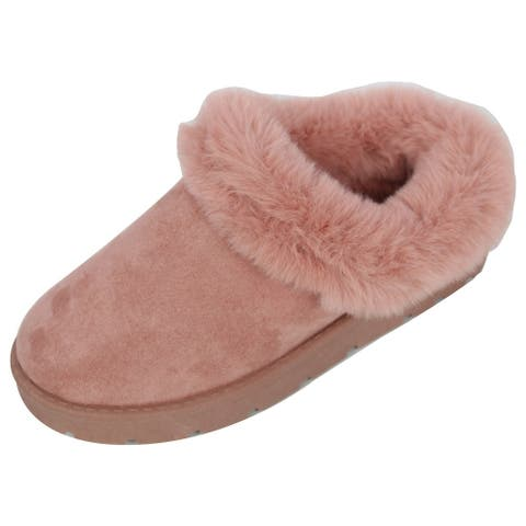 Bamboo Women's Faux Suede Fur Collar Slip On Mules