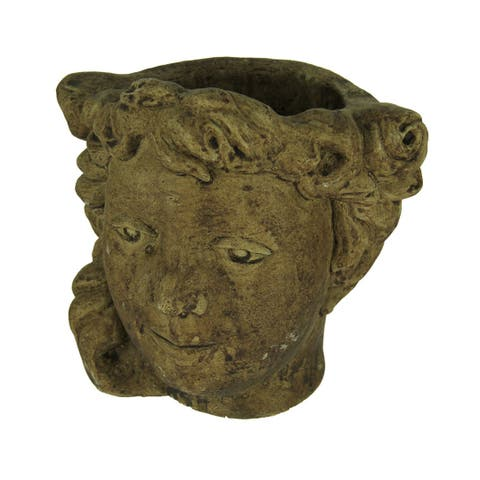 Designer Stone Driftwood Finish Small Classical Lady Head Cement Planter - 7.75 X 7.75 X 6.5 inches