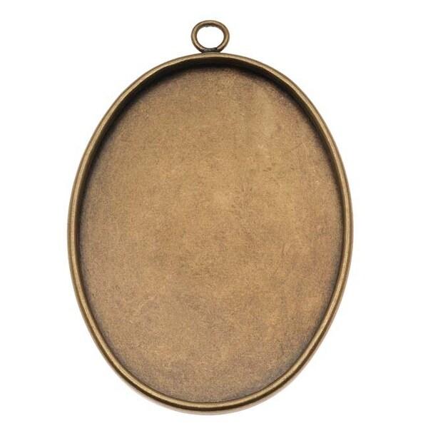 Antiqued Brass Large Oval Bezel Pendant - 40x30mm (1)