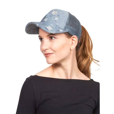 Vintage Distressed Pony Tail Outlet Mesh Adjustable Hat
