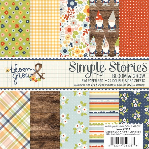 "Simple Stories Double-Sided Paper Pad 6""X6"" 24/Pkg-Bloom & Grow, 12 Designs/2 Each"