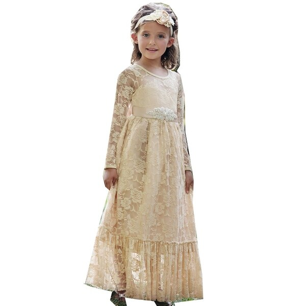 "Think Pink Bows Baby Girls Champagne Lace ""Sweetheart"" Flower Girl Dress 1Y"