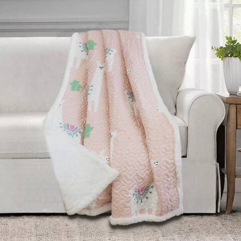 Cool Llama Quilted Throw 50x60