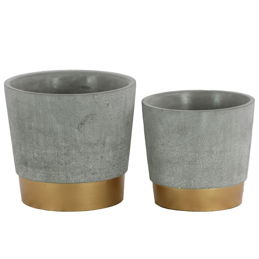 Round Cemented Flower Pot  On Gold Banded Rim Base, Set of 2, Gray