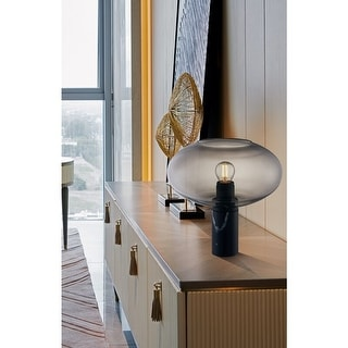 Link to Archiology Table Lamp Industrial Black Marble Base &Smoke Oval Glass Similar Items in Table Lamps