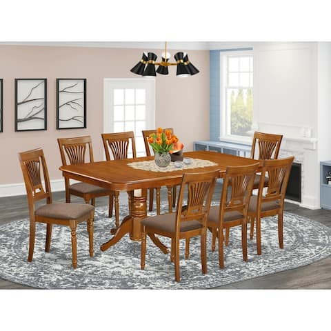 East West Furniture Modern 9 Pc Dining room set-Dining Table and 8 Dining Chairs in Saddle Brown Finish (Pieces Option)