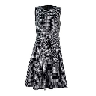 Tommy Hilfiger Women's Belted Bow Fit & Flare Dress - Black/Ivory