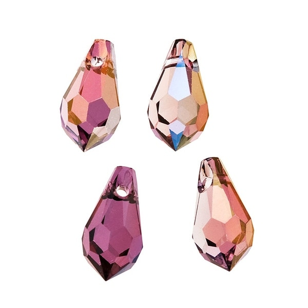 Swarovski Elements Crystal, 6000 Classic Drop Pendants 11x5.5mm 4 Pieces, Crystal Lilac Shadow