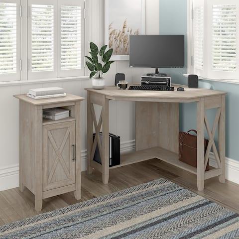Key West Small Corner Desk with Storage Cabinet by Bush Furniture