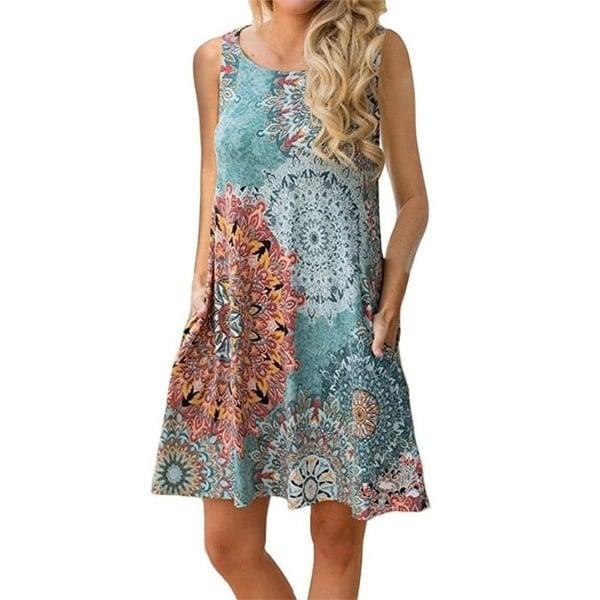 Women's Sleeveless Printed Dress. Opens flyout.