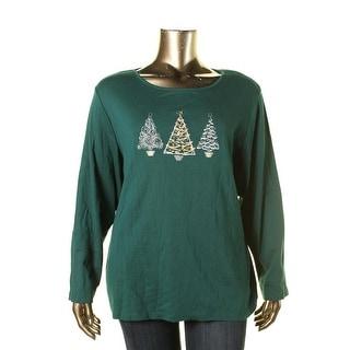 Karen Scott Womens Plus Pullover Top Embellished Scoop Neck