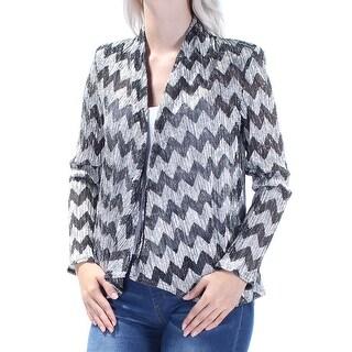Womens Black Silver Chevron Evening Bolero Jacket Size 6