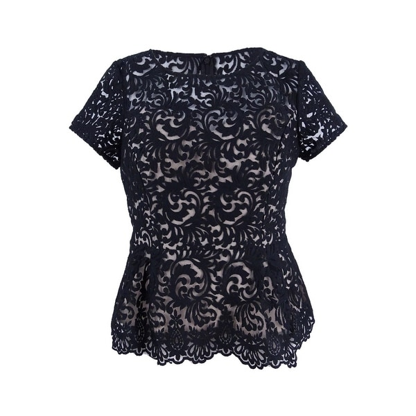 eb981818eba24 Shop Alex Evenings Women's Petite Embroidered Peplum Blouse - Black/Nude -  Free Shipping Today - Overstock - 21908649