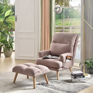 OVIOS Recliner chair with ottoman,Velvet & Linen wingback chair,Mid Century reading chair for living room, accent chair