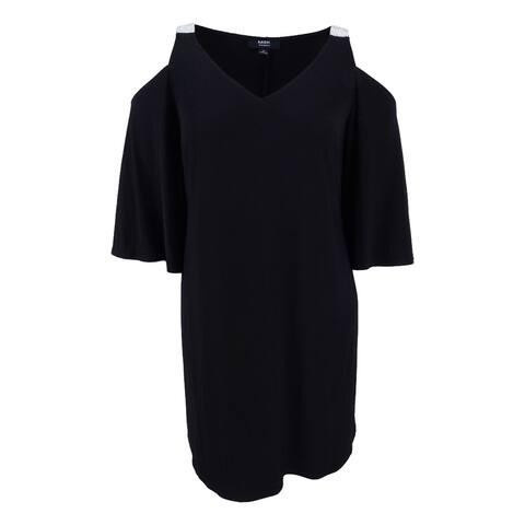 MSK Women's Plus Size Rhinestone Embellished Open Shoulder Shift Dress