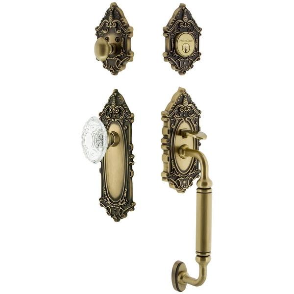 Nostalgic Warehouse VICCVI_ESET_234_CG Vintage Crystal Sectional Keyed Entry Handleset with Crystal Victorian Interior Knob, C