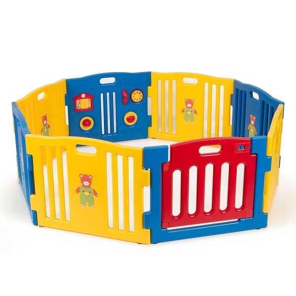Kidzone Baby 8 Panel Playpen Kids Safety Play Center Yard Home Indoor Outdoor Pen