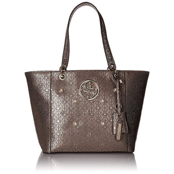 86d243c0723d35 Shop GUESS Kamryn Signature Large Tote Bag Pewter - One Size - Free ...