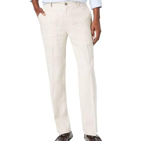 Tasso Elba Mens Pants Natural Beige Size 38x30 Linen Flat Front Classic