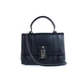 Roberto Cavalli Womens Solid Black Leather Satchel Shoulder Bag - M