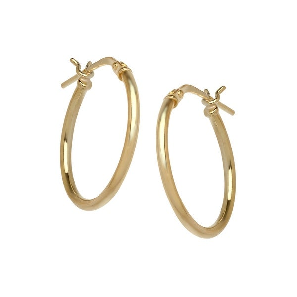 Classic Hoop Earrings in 14K Gold-Plated Sterling Silver - YELLOW