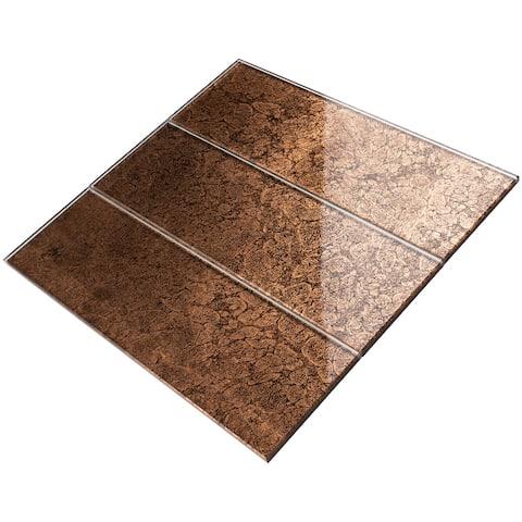"TileGen. 4"" x 12"" Glass Subway Tile in Brown Wall Tile (30 tiles/10sqft.)"