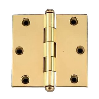 Door Cabinet Hinge 3 x 3 Square Solid Brass Button Tip