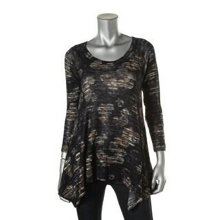 Nally & Millie Womens Printed Handkerchief Hem Tunic Sweater - XS