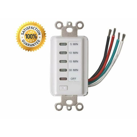 Bathroom Fan Auto Shut Off 5-10-15-30 Minute Outlet - Countdown Electrical Wall Switch Timer, White Plug in Outlets (1 Pack)
