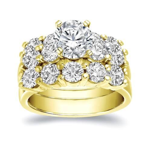 Auriya 14k Gold 4 4/5ctw Classic 5 Stone Diamond Engagement Ring Set 3pc Certified