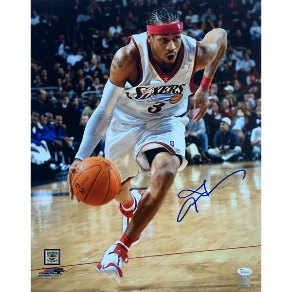eb59dfeb5bc Shop Allen Iverson Signed 16x20 Philadelphia 76ers Dribble Photo JSA ...