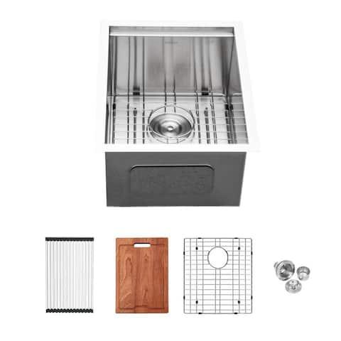 Bar Sink Undermount - 15x19 Inch Undermount Single Bowl Bar Prep Workstation Sink 16 Gauge Zero Raduis Kitchen Undermount Sinks