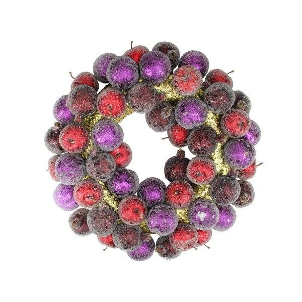 "17.5"" Sugared Fruit Plum, Apple and Pomegranate Christmas Wreath - Unlit"