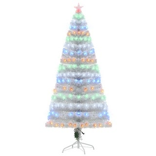 Link to HOMCOM 6FT Tall Artificial Tree Multi-Colored Fiber Optic LED Pre-Lit Holiday Home Christmas Decoration Similar Items in Decorative Accessories