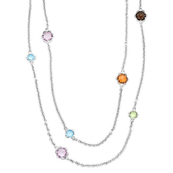 Flower Station Necklace with Natural Multi-Gems in Sterling Silver - Blue