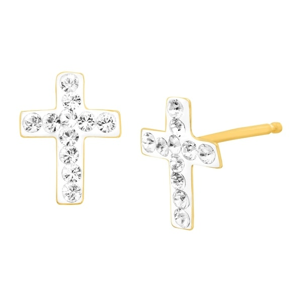 Crystaluxe Cross Stud Earrings with Swarovski elements Crystals in 14K Gold-Plated Sterling Silver