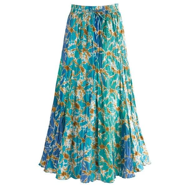 "Women's Waves Of Blue Broom Maxi Skirt - Elastic Waist - 35"" Long"