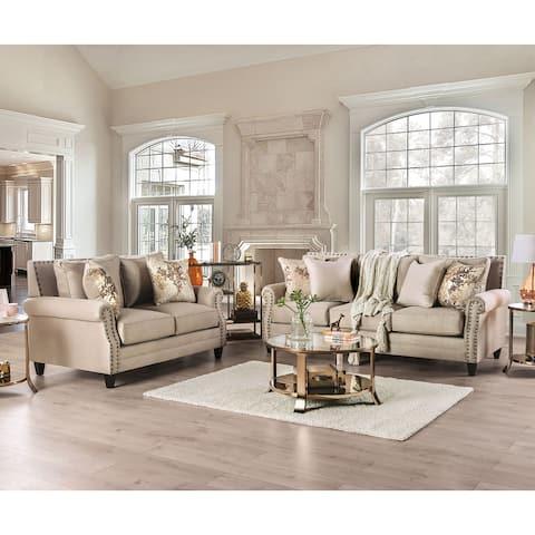 Furniture of America Qyn Transitional Beige 2-piece Living Room Set