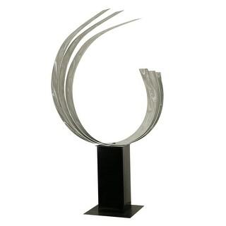 "Statements2000 Silver Abstract Metal Sculpture Garden Decor by Jon Allen - Triple C - 42"" x 18"" x 9"""