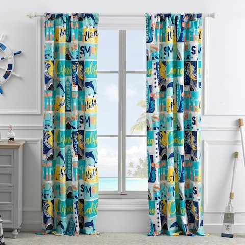 Greenland Home Fashions Wave Rider 4-Piece Curtain Panel Set