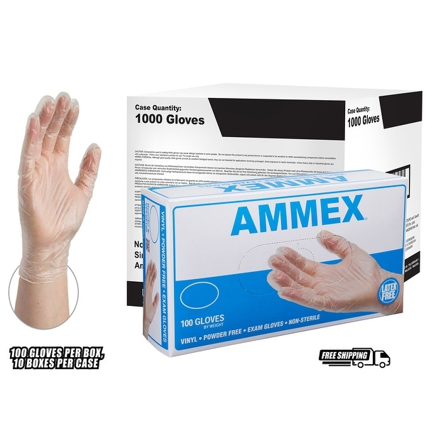 Clear Vinyl Exam Powder Free Gloves Box of 100