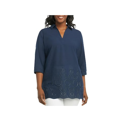 Foxcroft Womens Plus Blouse Embroidered Eyelet