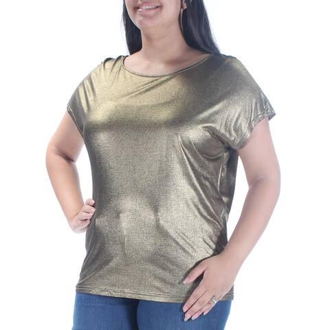 RALPH LAUREN Womens Gold Glitter Short Sleeve Jewel Neck T-Shirt Party Top Size: L