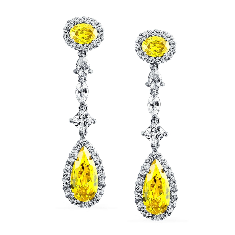 49c6fbe8ce3e0 Long Yellow Cubic Zirconia Pear Shape Teardrop Imitation Citrine CZ  Chandelier Earrings Rhodium Plated Brass 2.2 inch