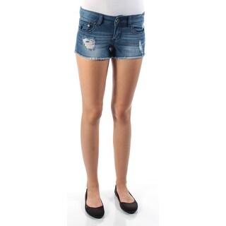 INDIGO REIN Womens New 1266 Blue Frayed Cropped Casual Short Juniors 1 B+B