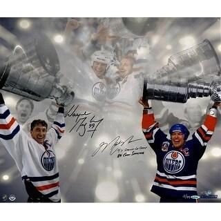 Wayne GretzkyMark Messier Dual Stanley Cup 16x24 Photo w 4X Stanley Cup Champs 84 Conn Smythe Insc