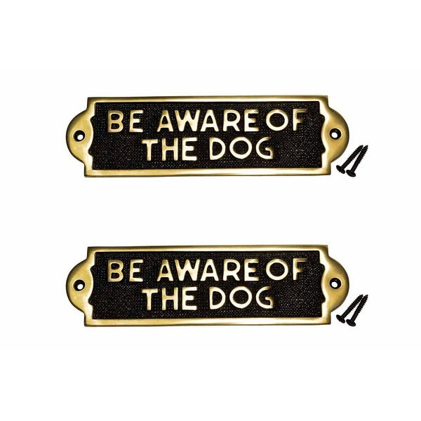 Brass Plaques Dog Sign Be Aware Of The Dog Polished Brass Plate 2 1/8 X 7 1/16